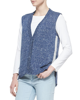 Snap-Front Knit Vest W/ Side Zipper