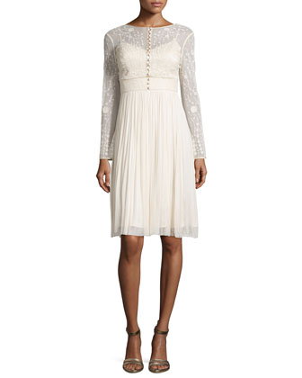 Lace Embroidered Dress w/Gathered Skirt, Vanilla Cream