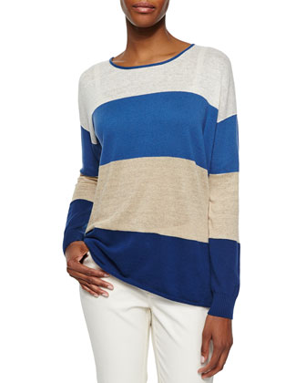 Dip Back Two-Zip Vest, Long-Sleeve Colorblock Sweater, Sabira Long-Sleeve ...