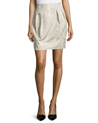 Jackie Pleated Short Skirt, Raffia