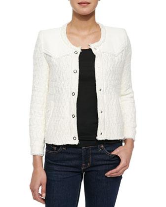 Halston Textured Woven Jacket, Ecru
