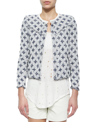 Handi Stretch-Woven Diamond-Pattern Jacket, Doris Sleeveless Perforated ...