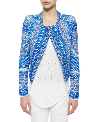 Ozaka Patterned Tweed Cropped Jacket