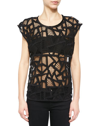 Olpen Mesh Cutout Cap-Sleeve Top