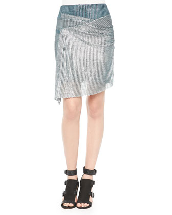 Metallic Mesh Knit Hook Skirt, Silver/Green