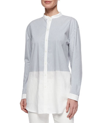 Long Striped Shirt W/ Linen Hem