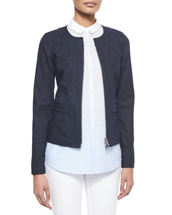 Collarless Zip-Front Denim Jacket