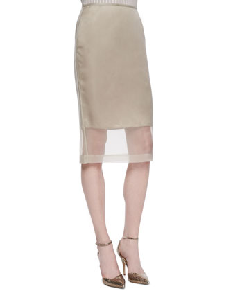 Slim Skirt with Organza Overlay, Khaki