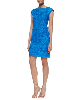 Cap-Sleeve Embroidered Cocktail Dress, Marine