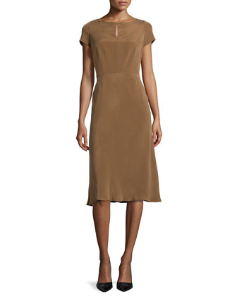 Raine Sueded Silk Keyhole Dress, Coconut