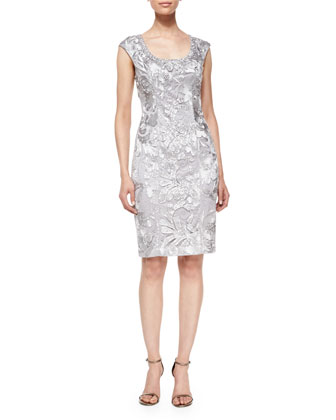 Sleeveless Embroidered Beaded Sheath Cocktail Dress