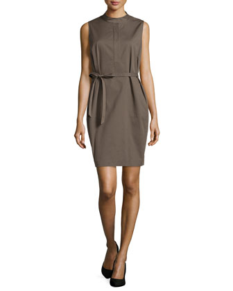 Sleeveless Tab-Collar Dress, Cremini
