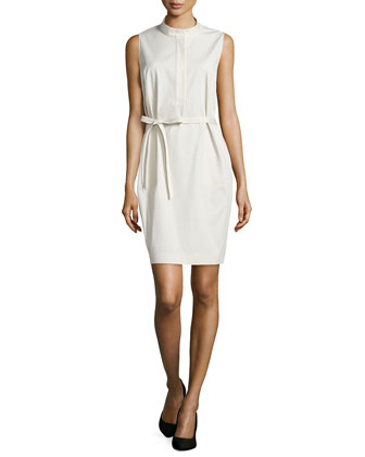 Sleeveless Tab-Collar Dress, Raffia