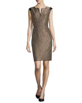 Zelina Jacquard Sheath Dress, Espresso Multi