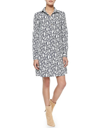 Printed Long-Sleeve Shirtdress