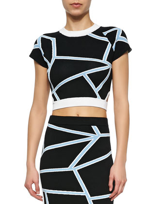 Cropped Geometric-Print Knit Tee & Intarsia Knit Geometric-Print Pencil ...