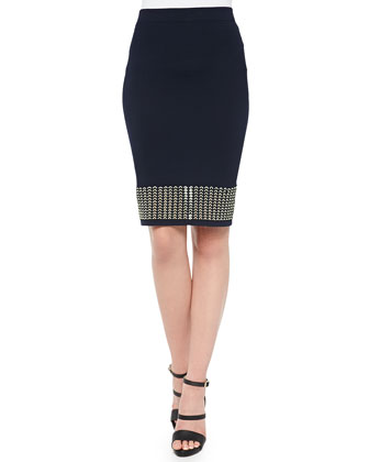 Eyelet Banded Pencil Skirt, Black