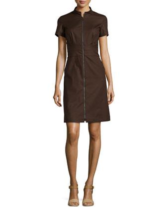 Allie Stretch-Knit Short-Sleeve Dress