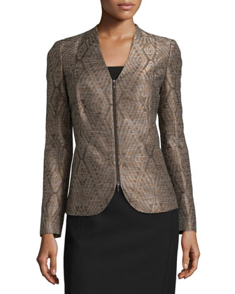 Zariah Textured Geometric-Print Jacket