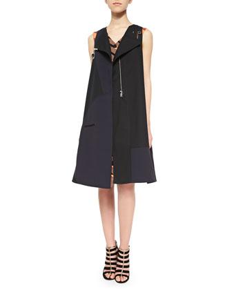 Tatum Bonded Utility Vest & Ribbon Jacquard Welt-Pocket Dress