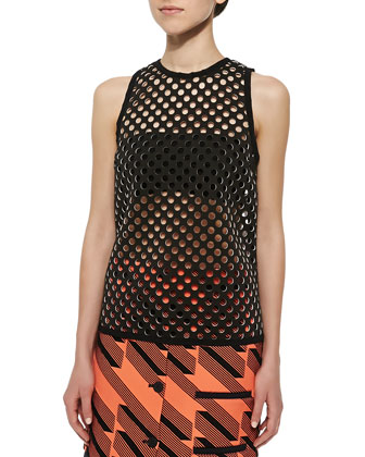Ricky Perforated Tank Top, Black