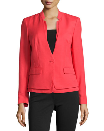 One-Button Tiered-Hem Jacket
