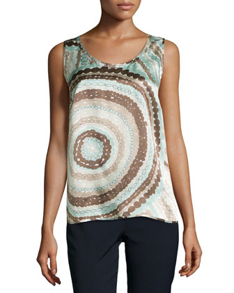 Talia Sleeveless Silk Print Top