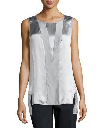 Sleeveless Matte Silk Blouse, Silver