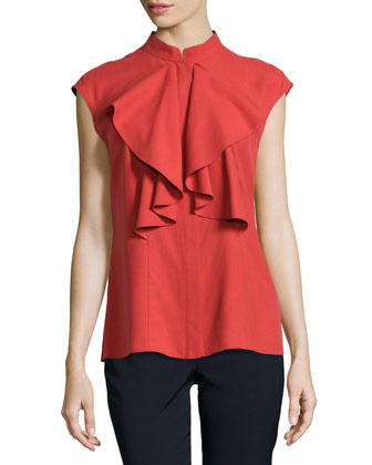 Malin Ruffled Cap-Sleeve Blouse