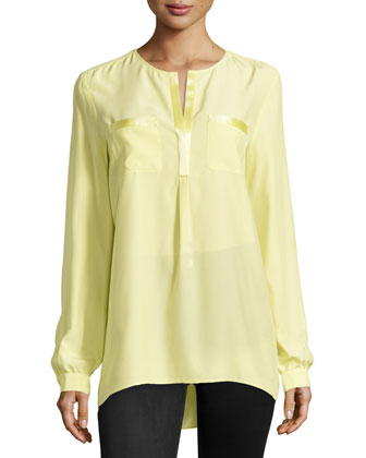 Samantha Split-Neck Silk Top