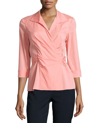 3/4-Sleeve Wrap-Front Blouse