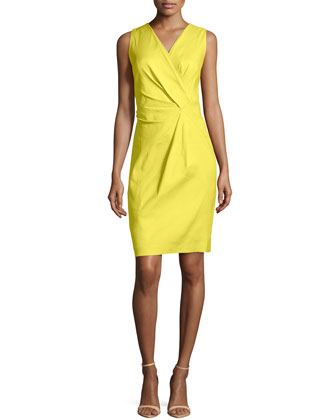 Laurel Linen-Blend Twist Dress, Parakeet