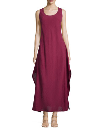 Linen & Gauze Sleeveless Long Dress, Pomegranate