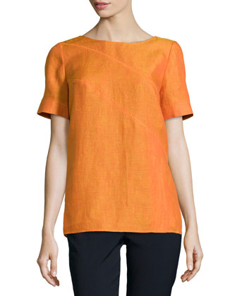 Amberlyn Short-Sleeve Linen Top