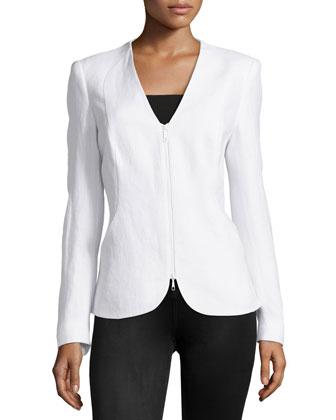 Zariah Woven Linen Zip Jacket