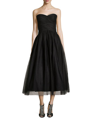 Strapless Tulle Tea-Length Cocktail Dress