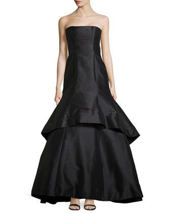 Dram Strapless Faille Trumpet Gown, Black
