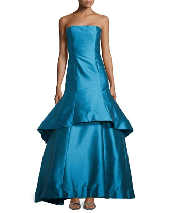 Dram Strapless Faille Trumpet Gown, Sky