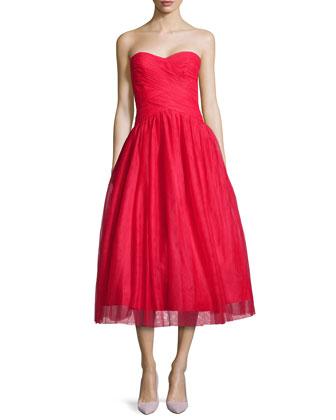 Strapless Tulle Tea-Length Cocktail Dress