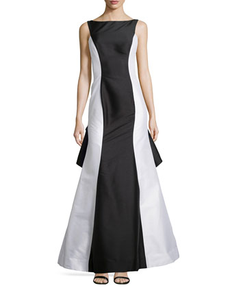 Colorblock V-Back Gown with Train, Black/White