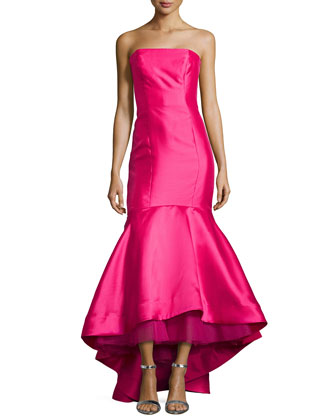 Strapless High-Low Mermaid Gown, Azalea