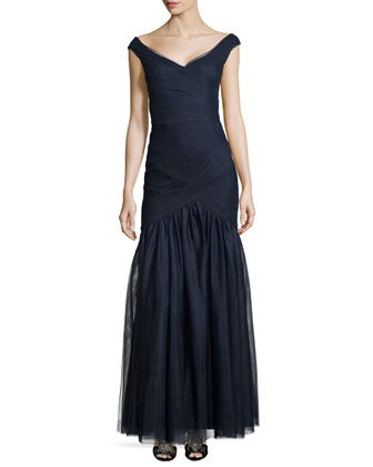 Off-the-Shoulder Fishtail Gown, Navy