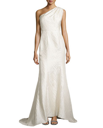 Animal-Textured One-Shoulder Gown