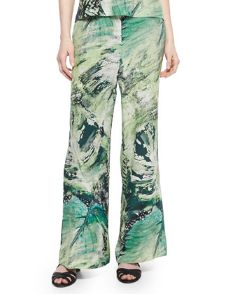 Printed Silk Relaxed Pants