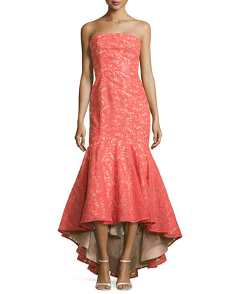 Strapless Lace Gown with High-Low Hem