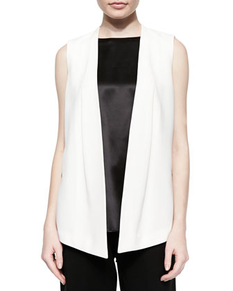 Yoko Sleeveless Open Vest, Rosie Sleeveless Satin Blouse & Asymmetric ...