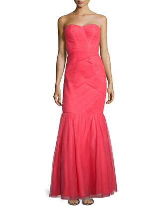 Strapless Mermaid Gown, Papaya