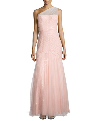 One-Shoulder Sequined-Lace Tulle-Overlay Gown
