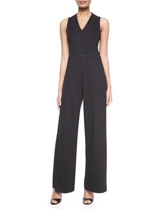 Sleeveless Wide-Leg Jumpsuit & Wide Leather Belt W/ Contrast Trim