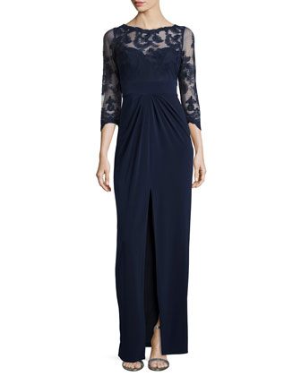 Embroidered Jersey Gown, Navy